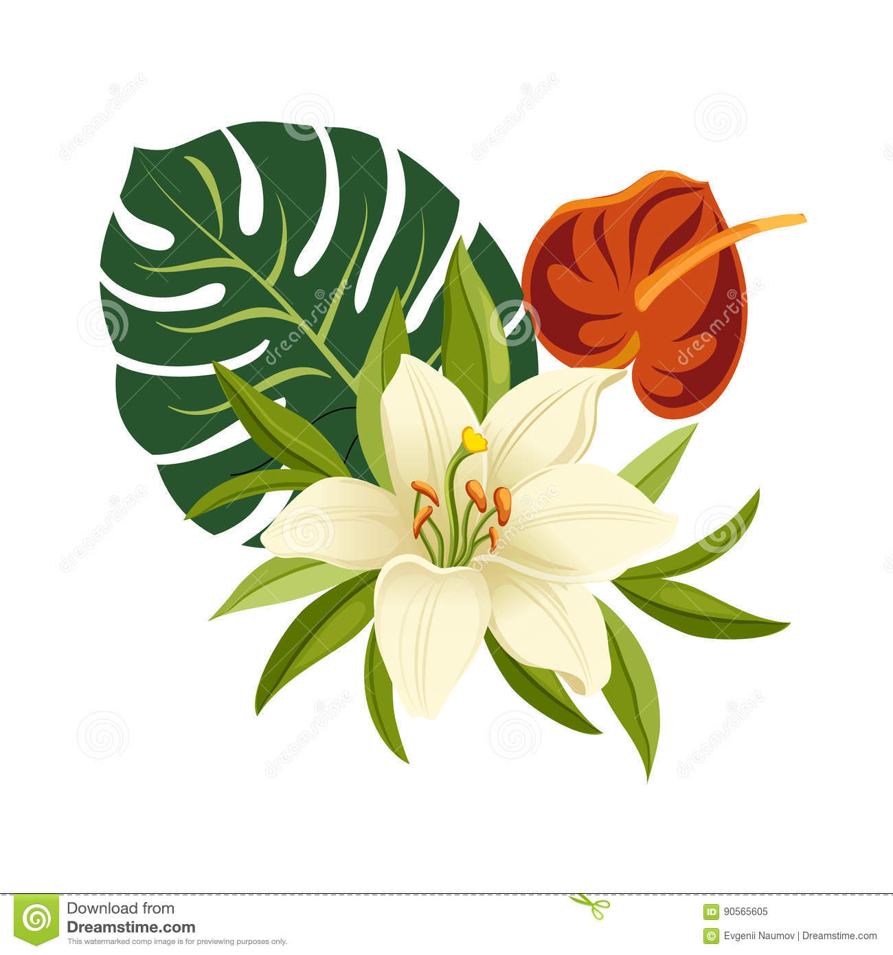 Tropical flowers and leaves. Elegant floral vector composition. Colorful cartoon illustration