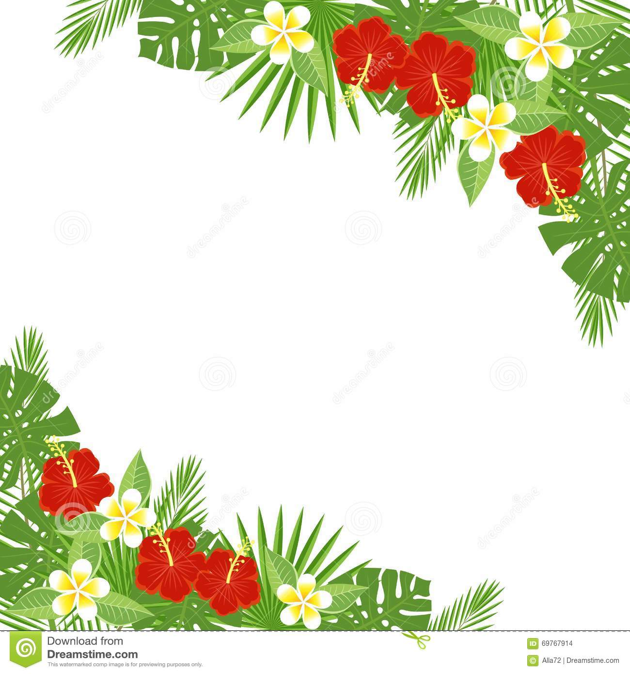 Tropical Flowers And Leaves - Hibiscus, Palm Tree ...