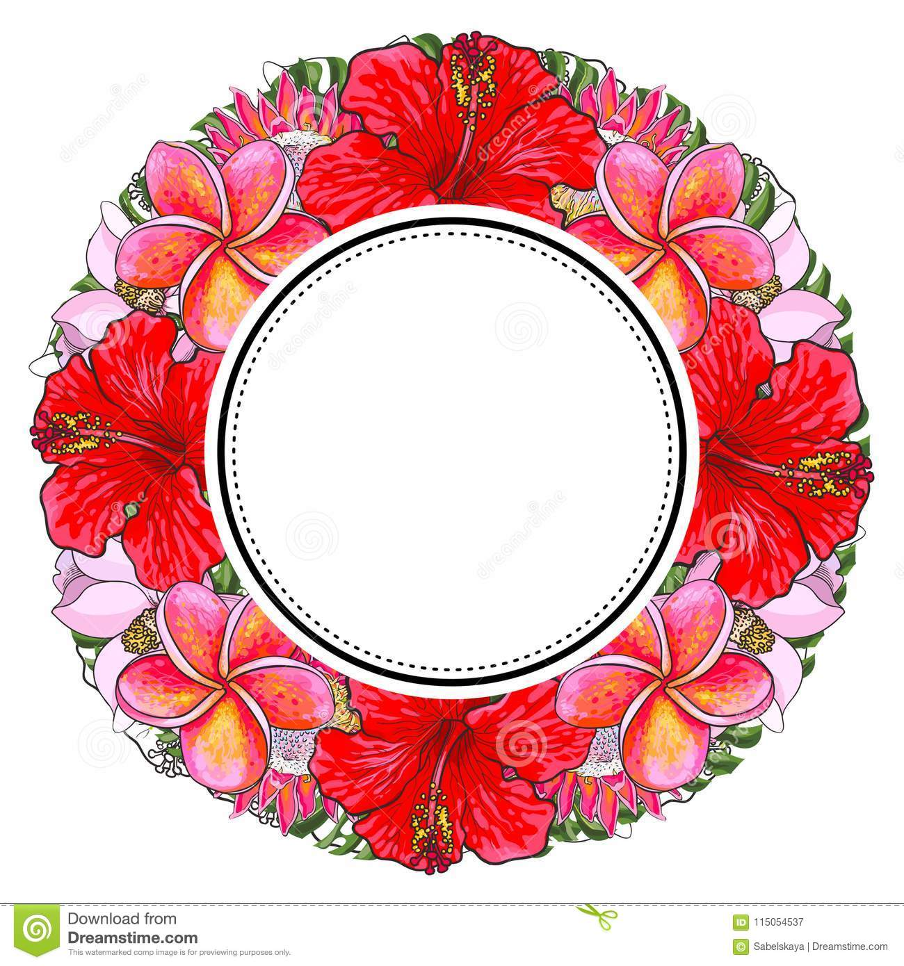 Tropical flowers and palm leaves in floral composition in round form with sticker on top