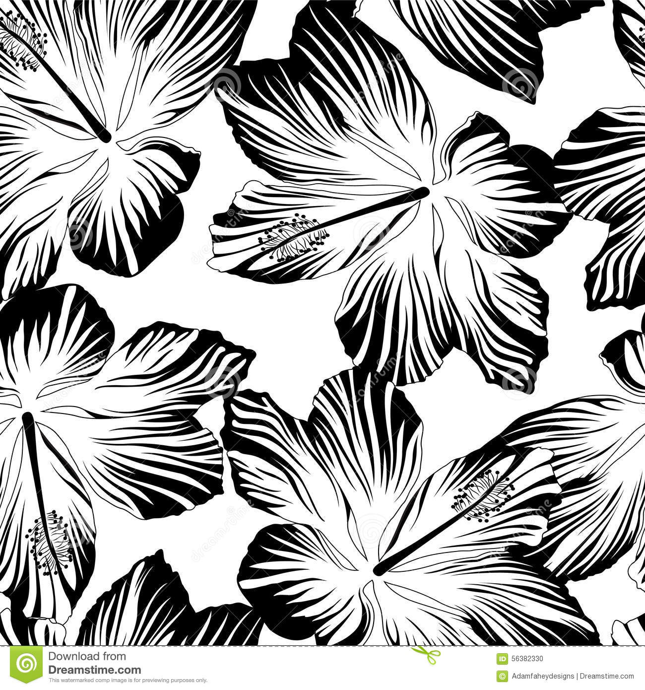 tropical flowers seamless pattern in black and white stock