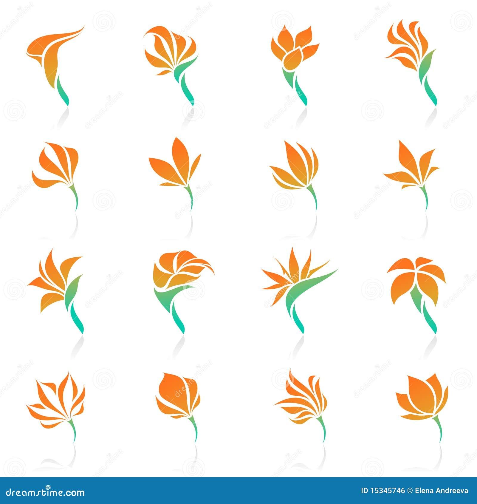 tropical flowers  vector logo template set  stock vector