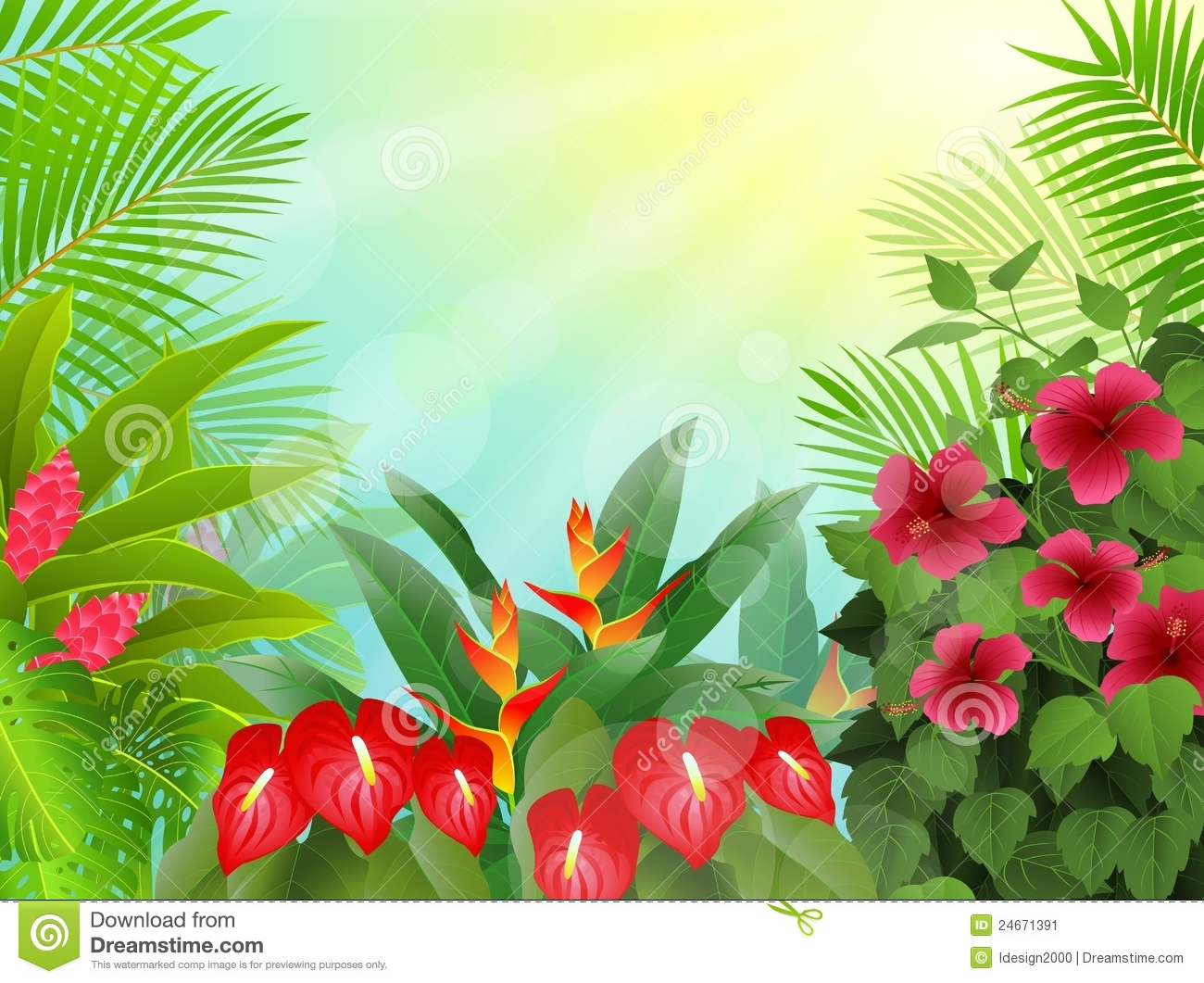 Rainforest Leaves Template Tropical forest ...