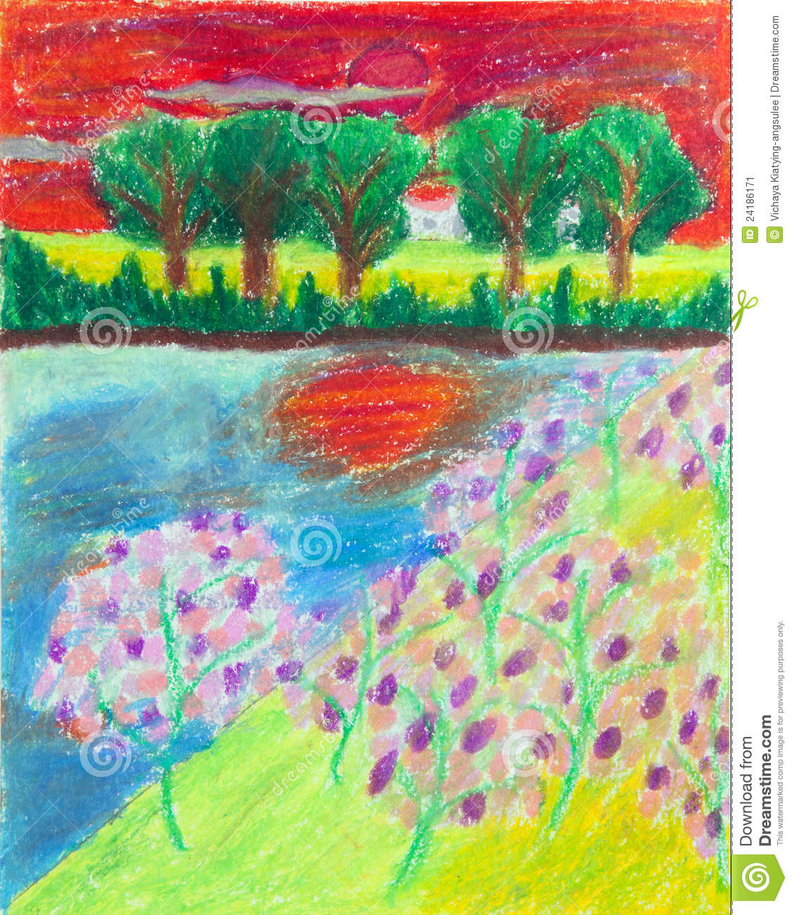 Tropical Forest And Blossom Flower At Sunset Free Hand Drawing From