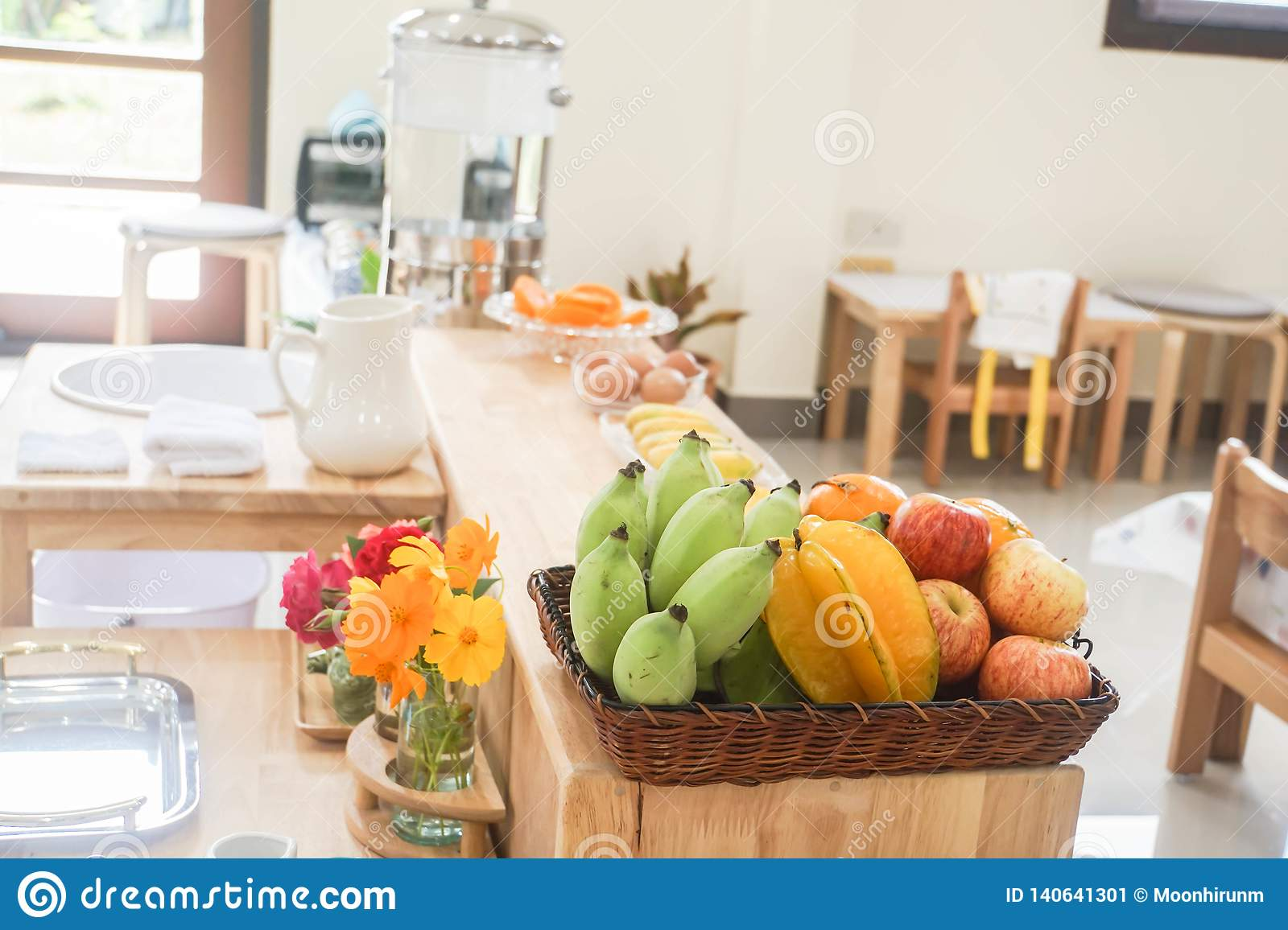 Tropical Fruit On Wooden Basket In Kitchen At Home Stock ...