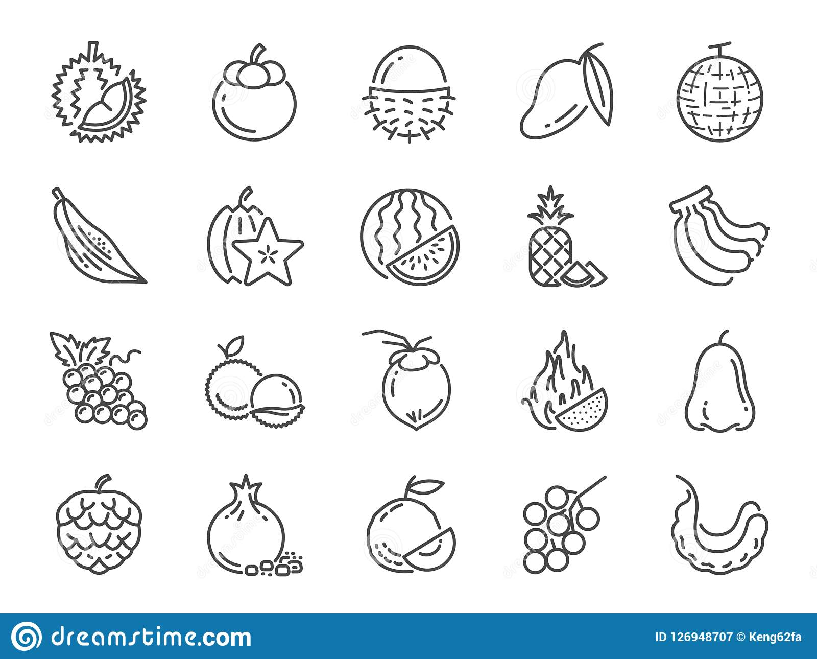 Tropical fruit icon set. Included icons as durian, mango, banana, longan, pineapple and more. Vector and illustration: Tropical fruit icon set. Included icons Vector Illustration