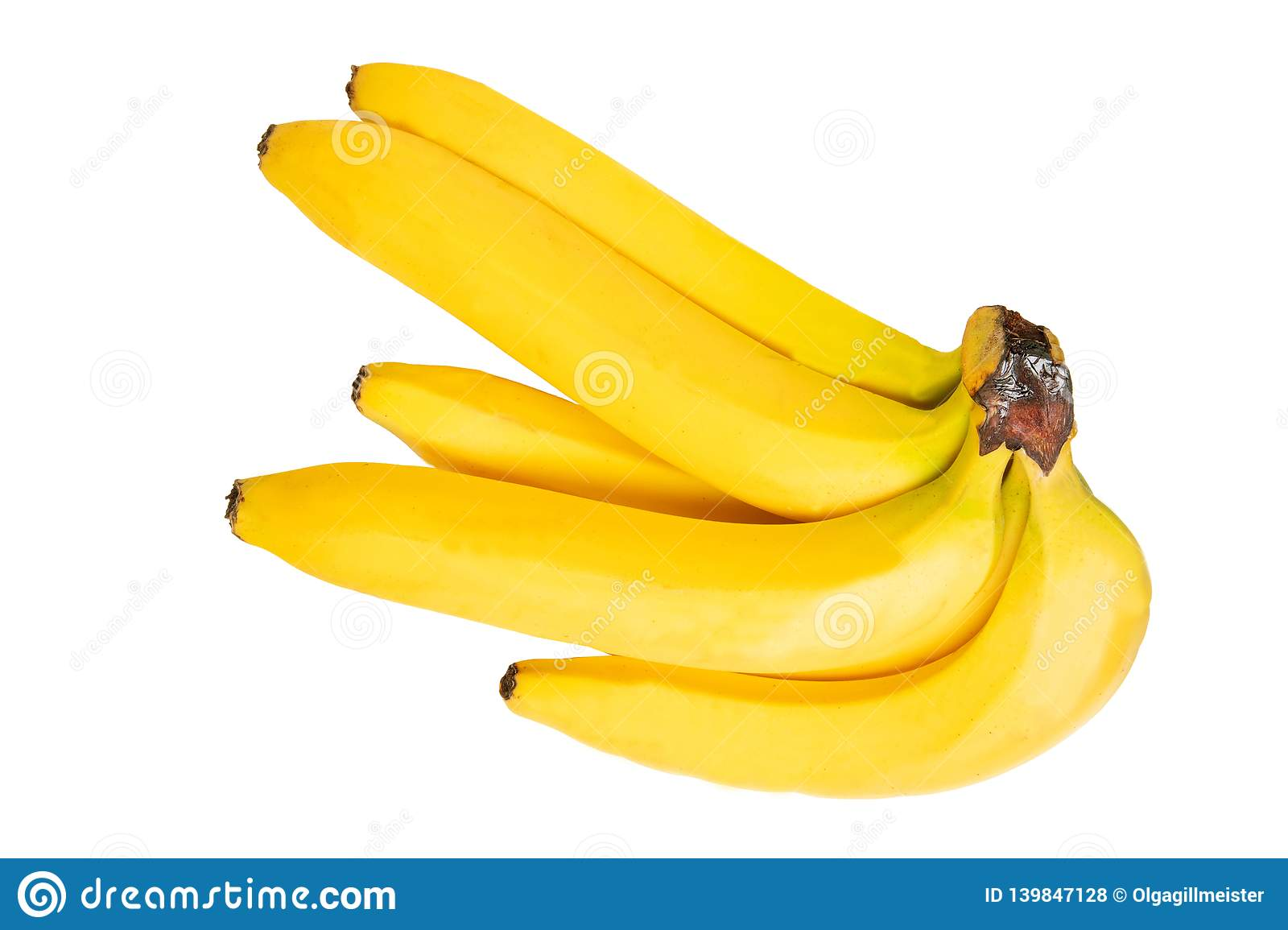 Tropical fruit isolated. Closeup bunch of tasty ripe bananas isolated on a white background. Health concept