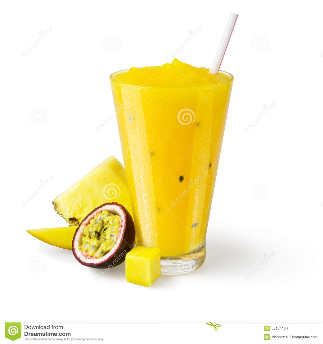 Pineapple Smoothie On White Background Royalty-Free Stock ...