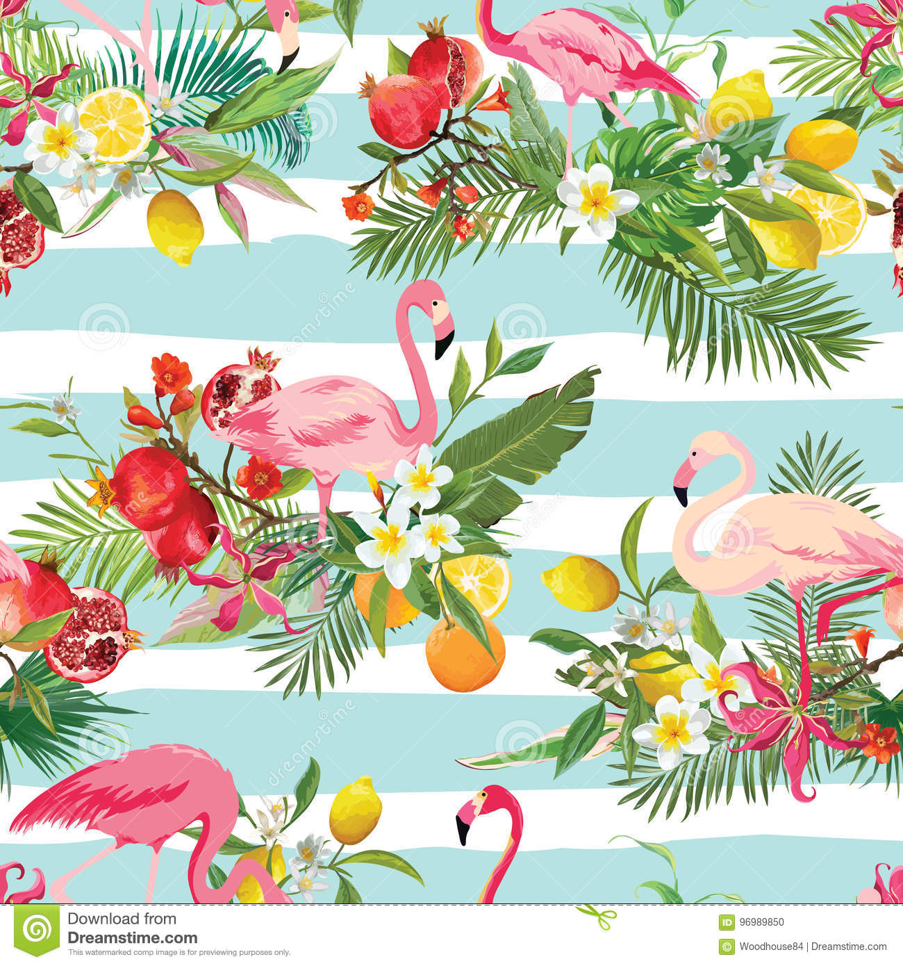 Vintage Style Tropical Bird And Flowers Background: Tropical Fruits, Flowers And Flamingo Birds Seamless