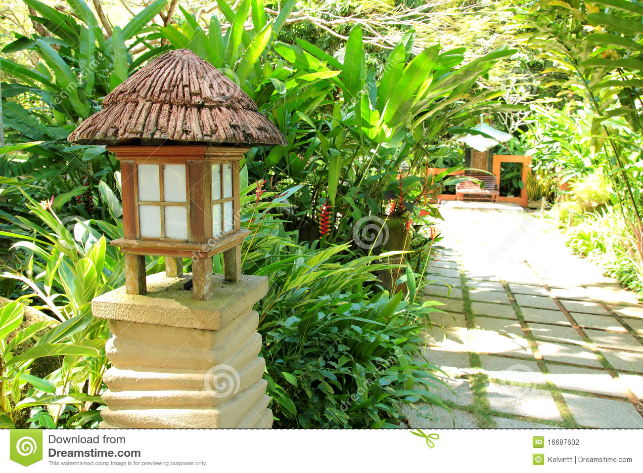 Tropical Garden with Lamp