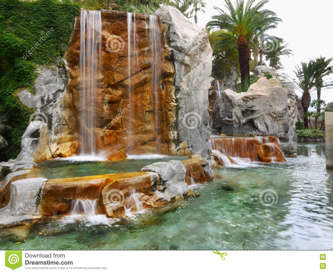 Tropical Garden, Waterfalls, Lake, Palms Stock Image - Image of ...