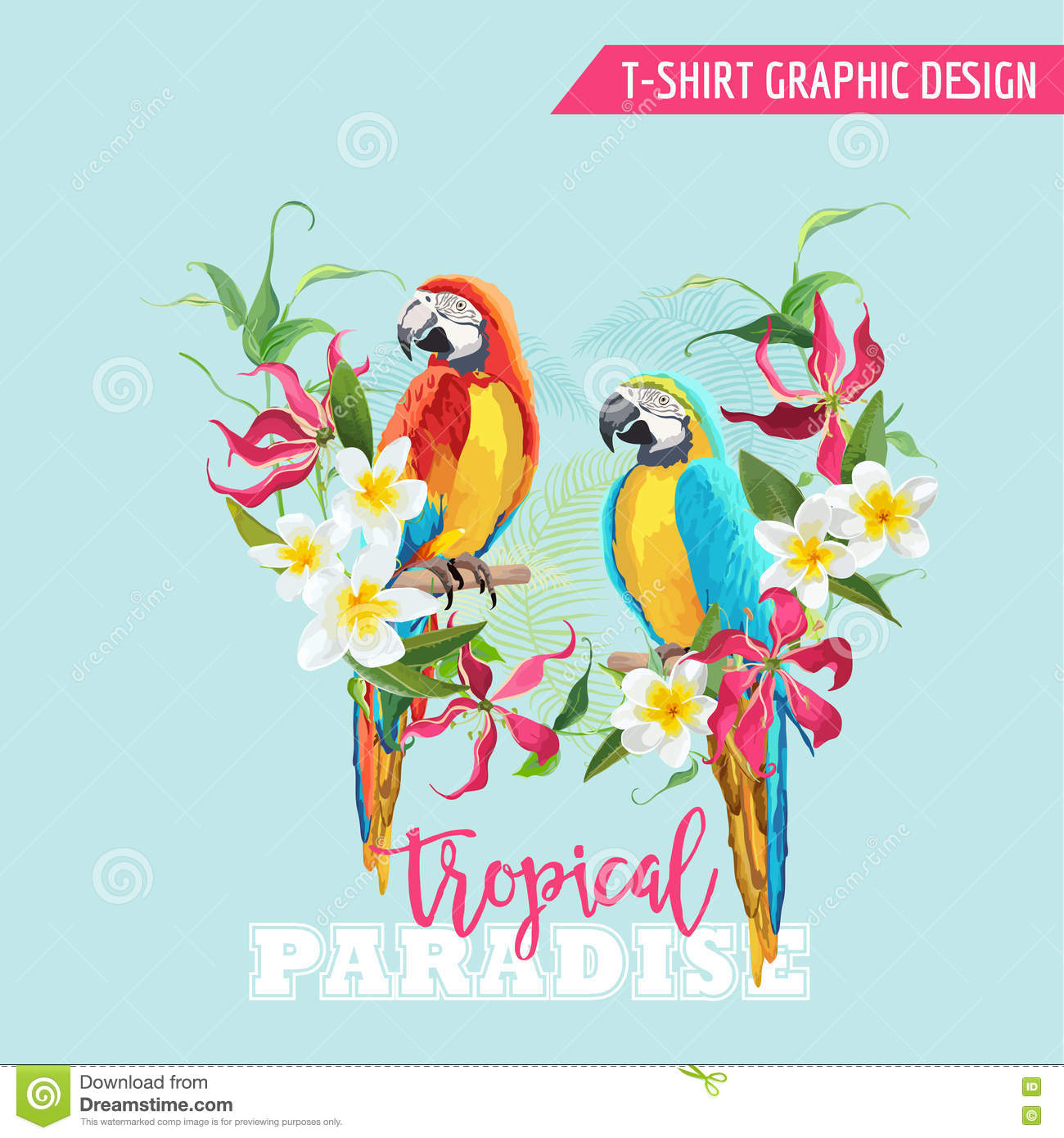 Tropical Graphic Design Parrot Bird And Tropical Flowers