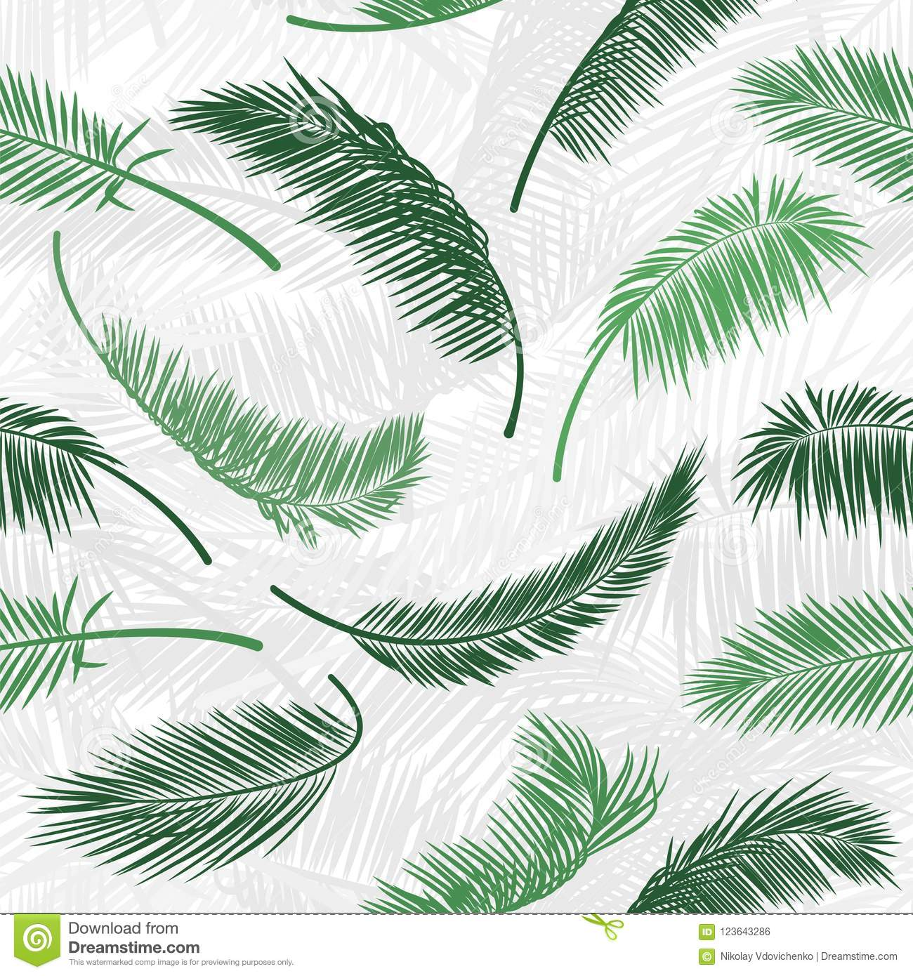 Tropical Green Palm Tree Leaves In Seamless Pattern Vector For Print Design Wallpaper