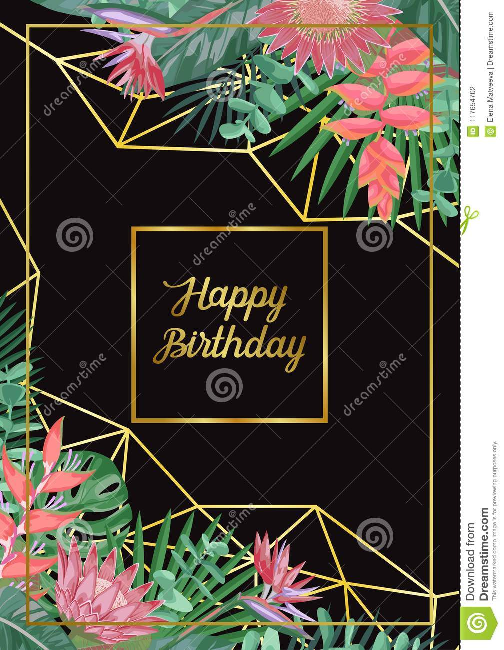 tropical happy birthday card stock vector illustration of flower