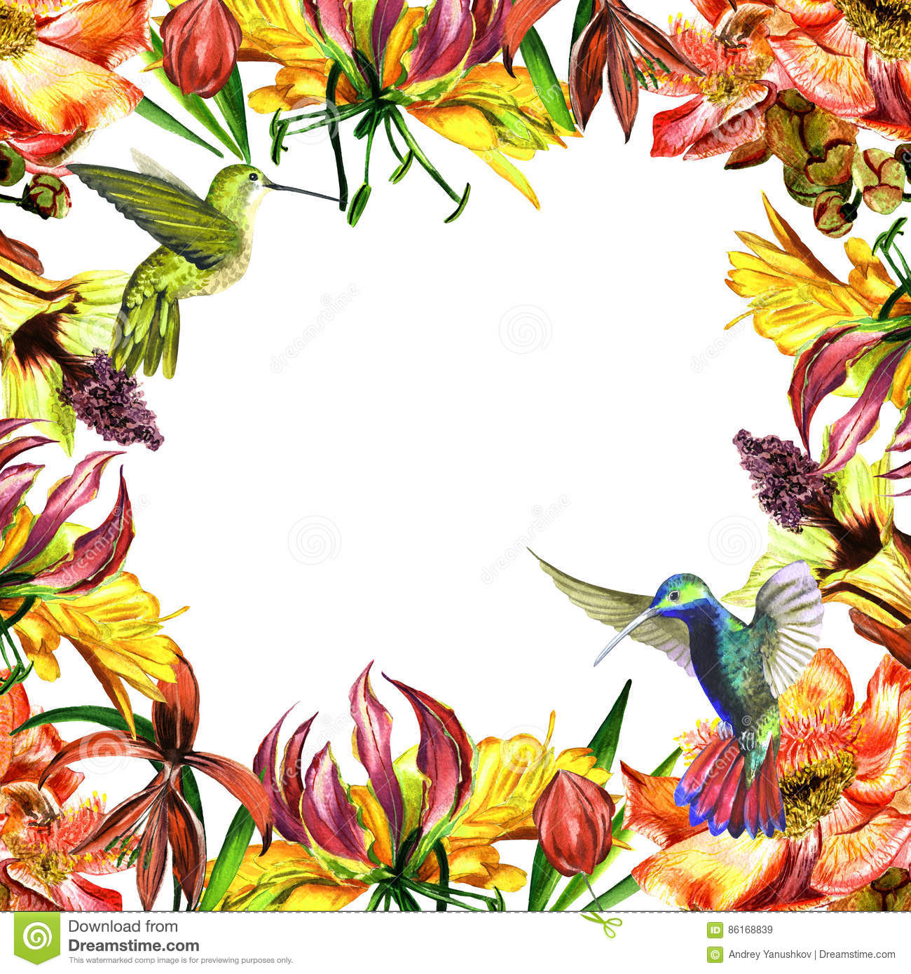 Tropical Hawaii Leaves And Flowers Frame In A Watercolor Style ...