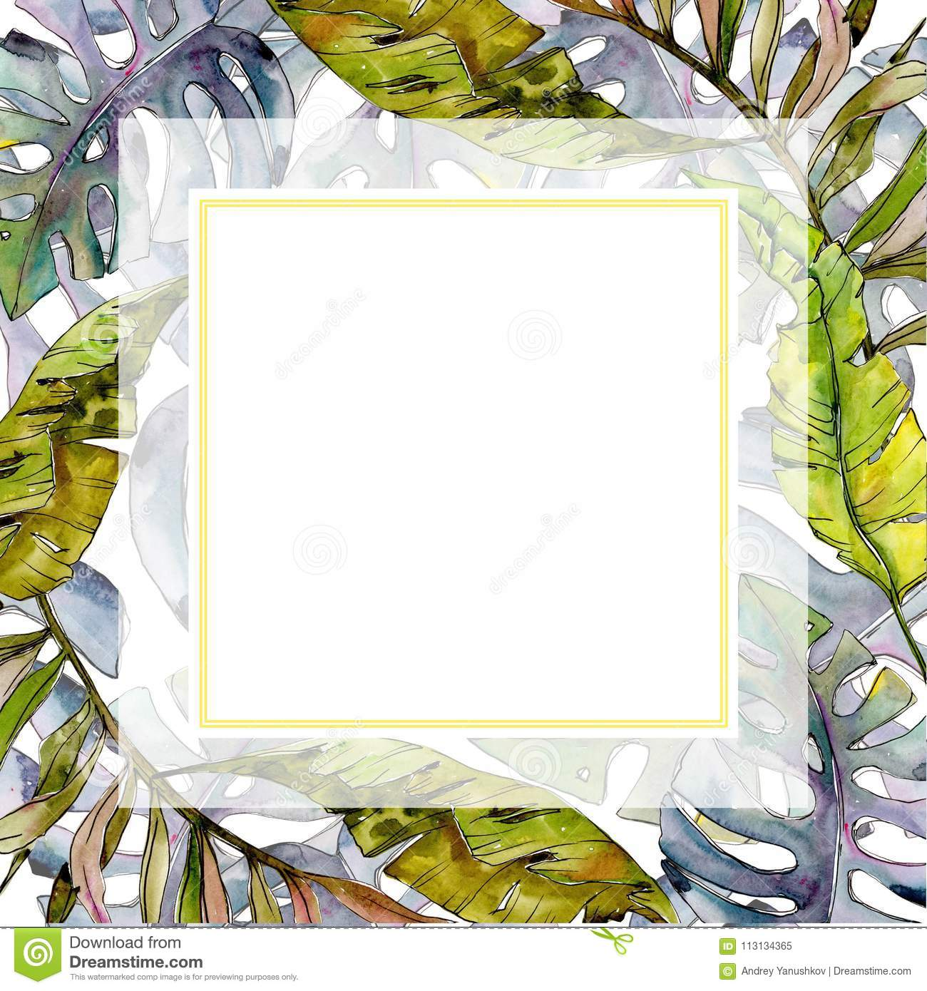Tropical Hawaii Leaves Tree Frame In A Watercolor Style. Stock ...