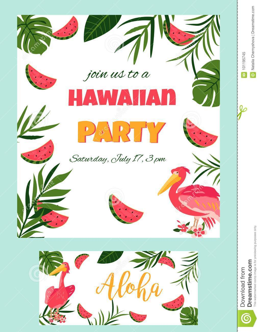 Tropical hawaiian poster with pelican party template invitation tropical hawaiian poster with pelican party template invitation banner card izmirmasajfo