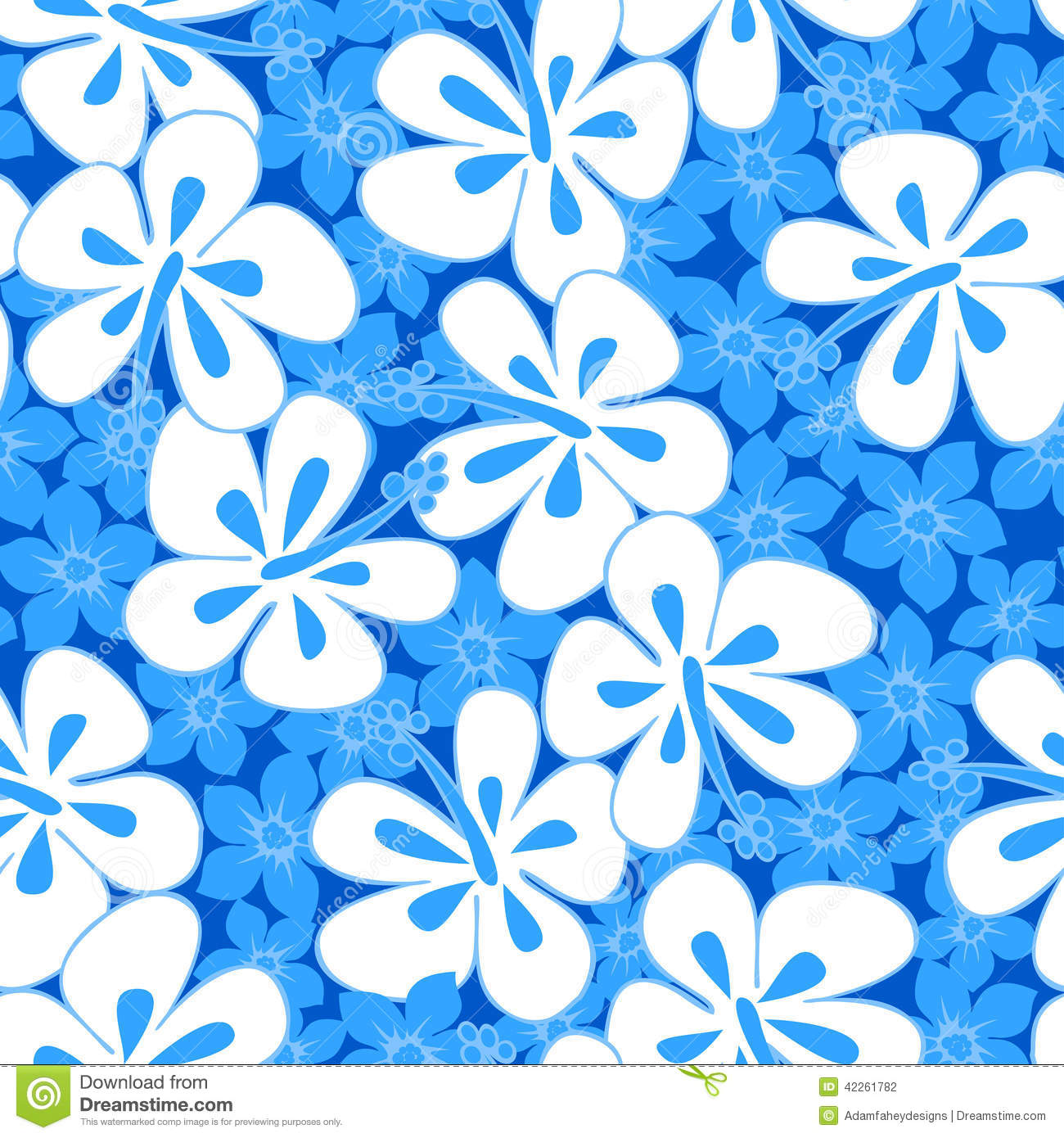 Tropical Hibiscus Simple Abstract Floral Seamless Pattern ...