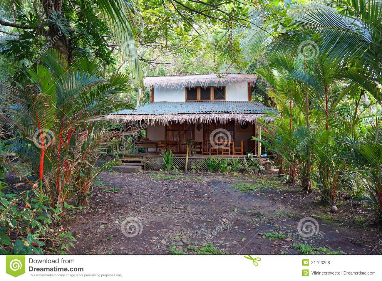 Tropical Home With Exotic Vegetation Royalty Free Stock