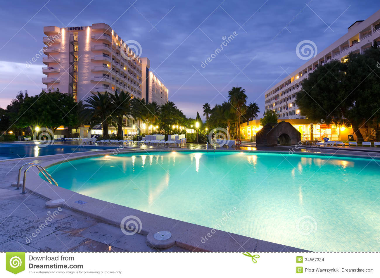 Tropical hotel in evening scenery editorial stock image for Pool design for mac