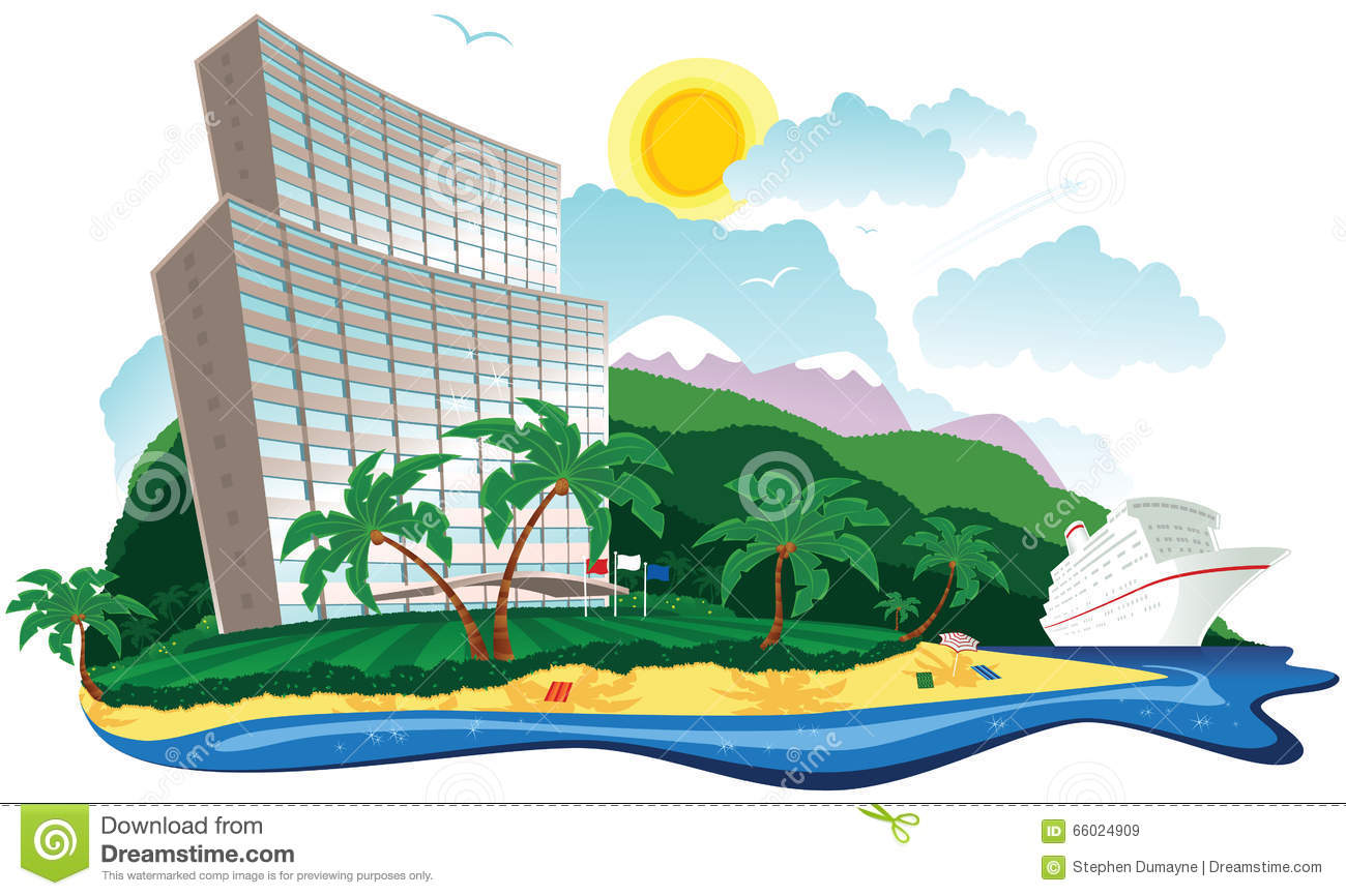tropical hotel holiday stock vector illustration of coastline 66024909 Water Clip Art Footprints in the Sand Clip Art