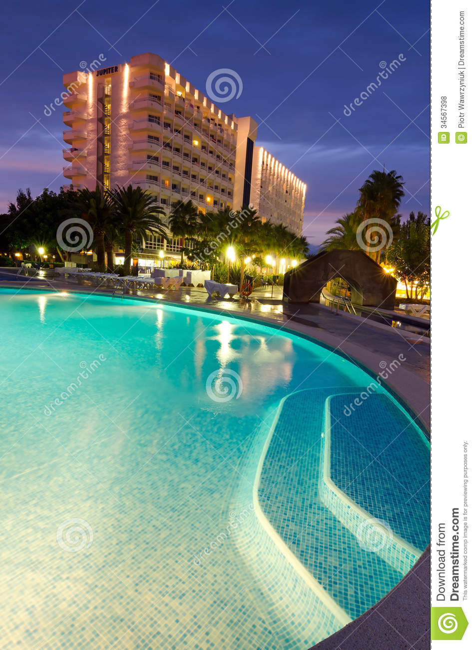 Tropical Hotel In Vertical Evening View Editorial Stock
