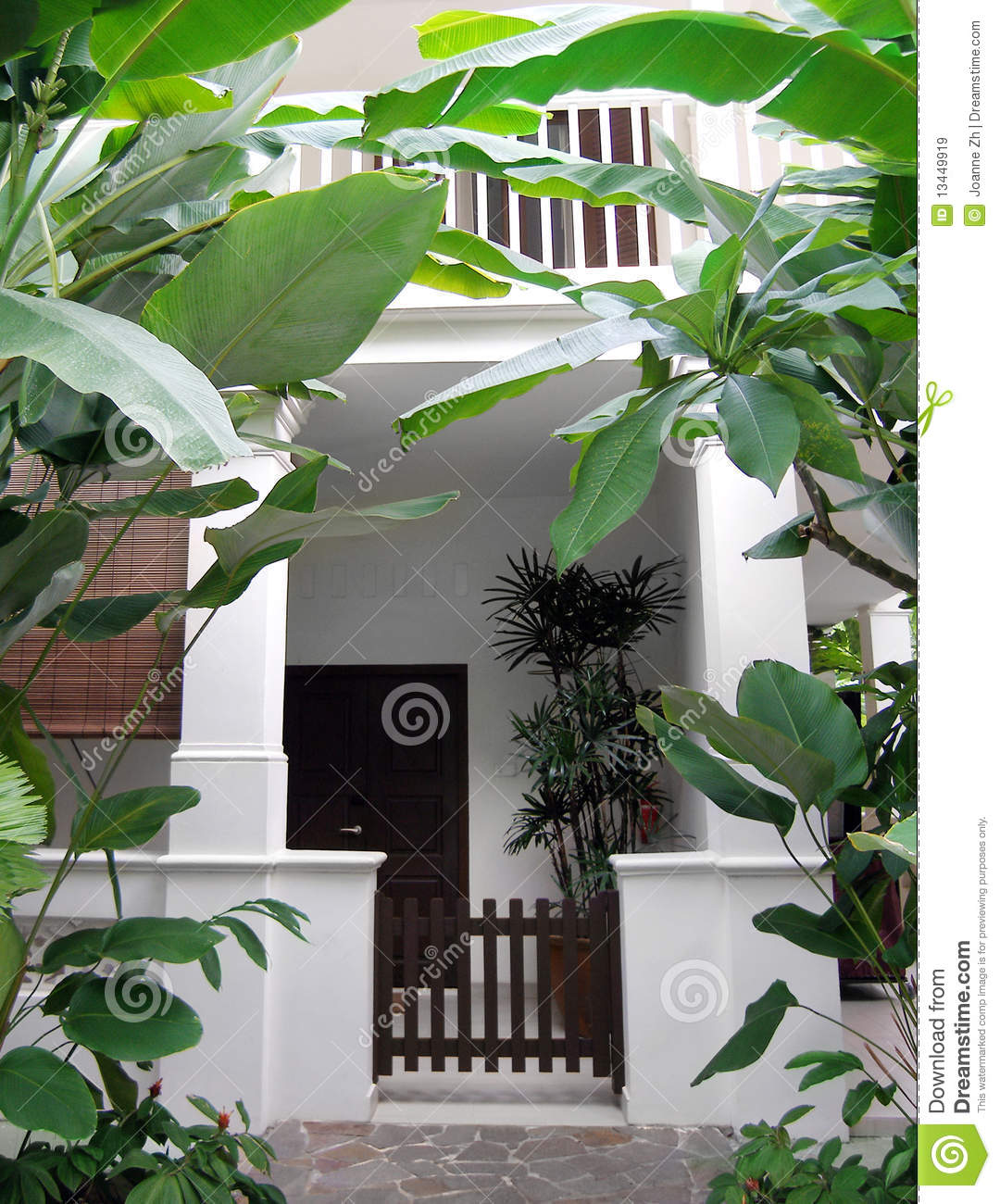 Tropical House With Lush Garden Stock Image Image Of