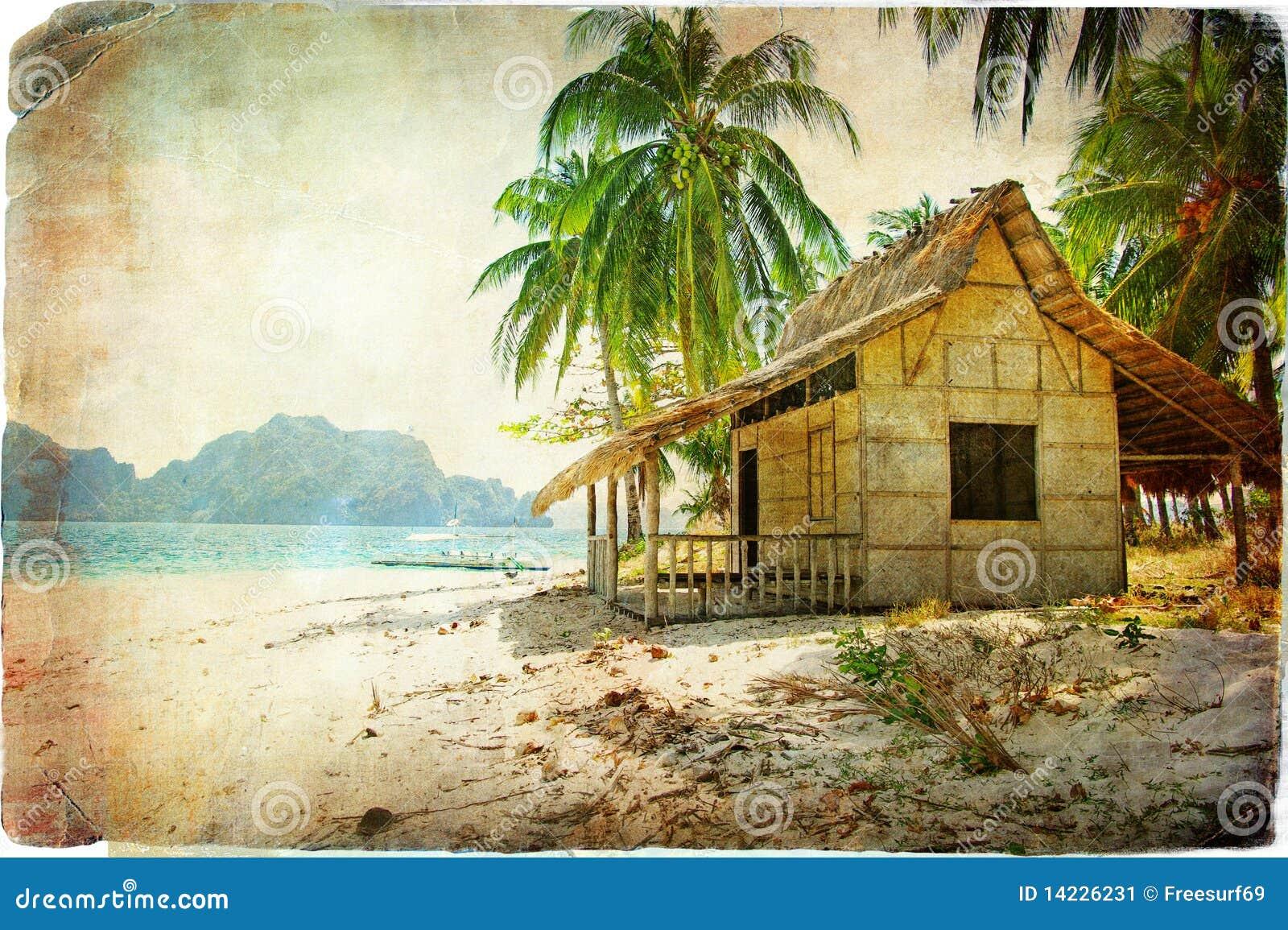 Tropical Island Beach Hut: Tropical Hut Stock Image