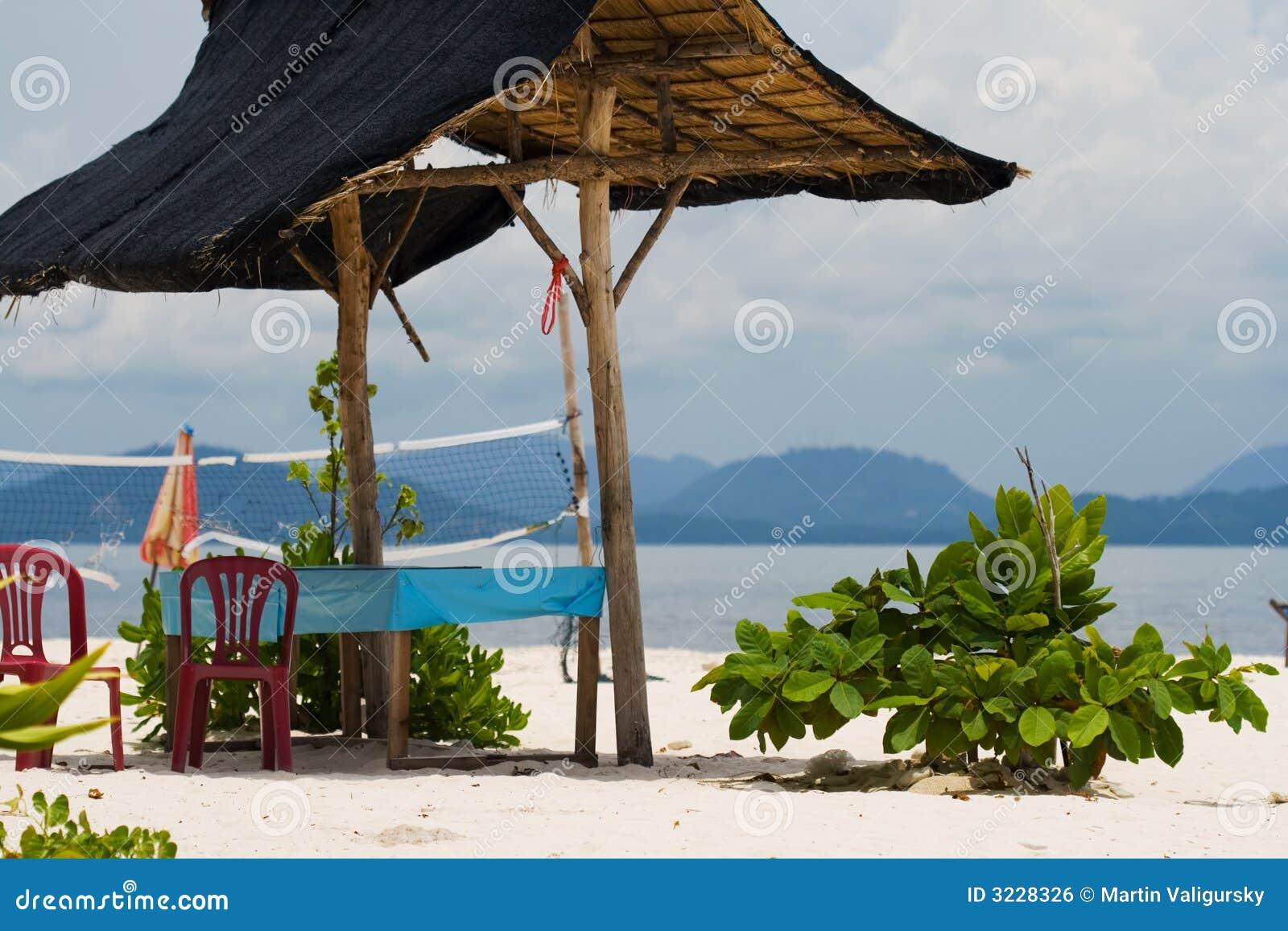 Tropical Island Beach Hut: Tropical Hut On The Beach Royalty Free Stock Image