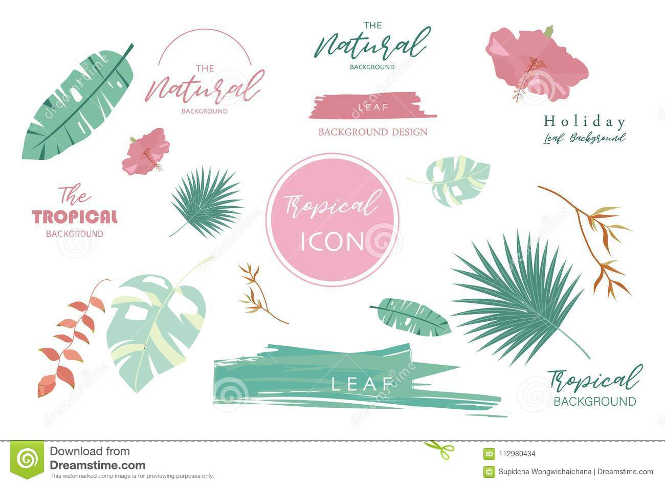 Tropical icon with palm, coconut tree,hibiscus,flamingo