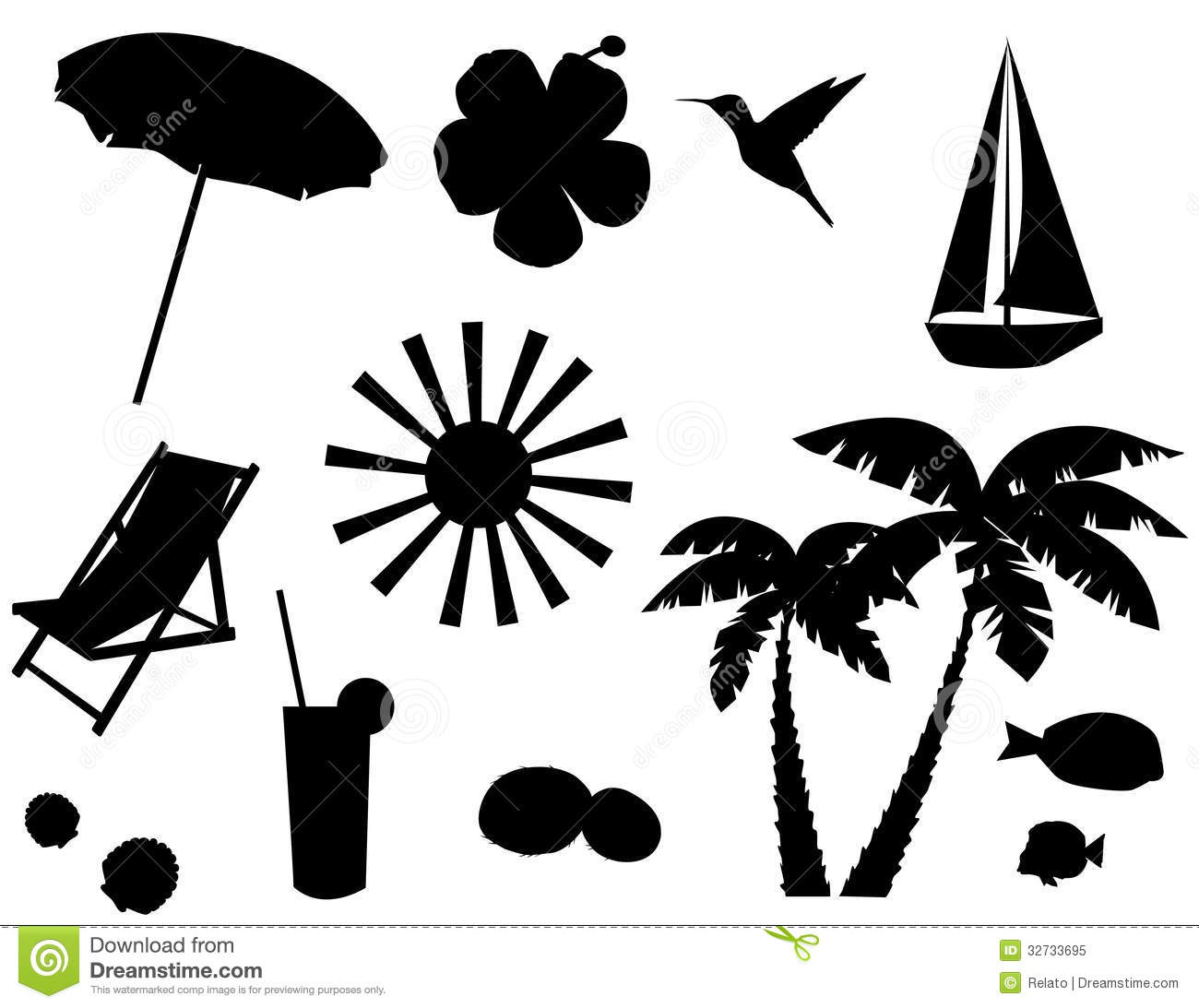 back of beach chair silhouette. Tropical Icons Back Of Beach Chair Silhouette