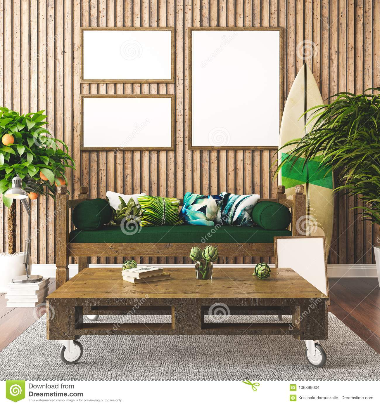 Interior poster mockup tropical interior hawaiian style 3d render