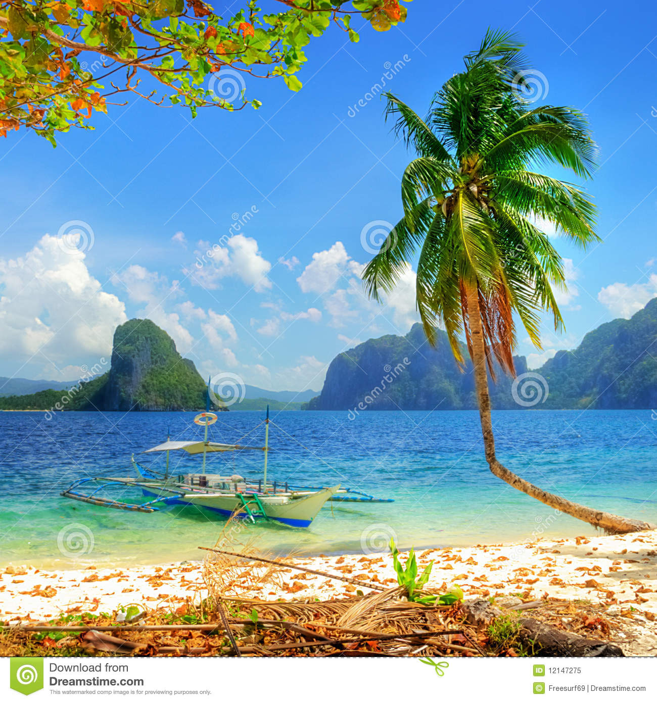 Beautiful Sunny Day At Tropical Beach Royalty Free Stock: Tropical Island Royalty Free Stock Photo