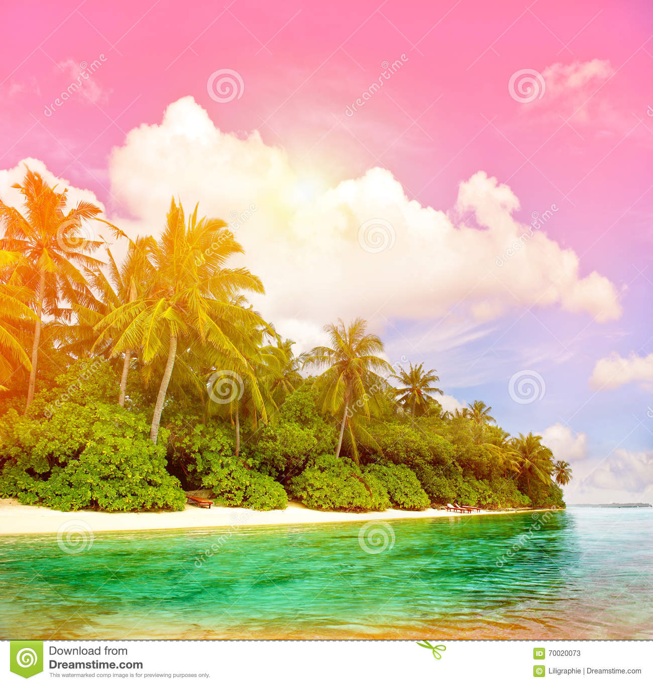 Tropical Island Beach With Colorful Sunset Sky Stock Image