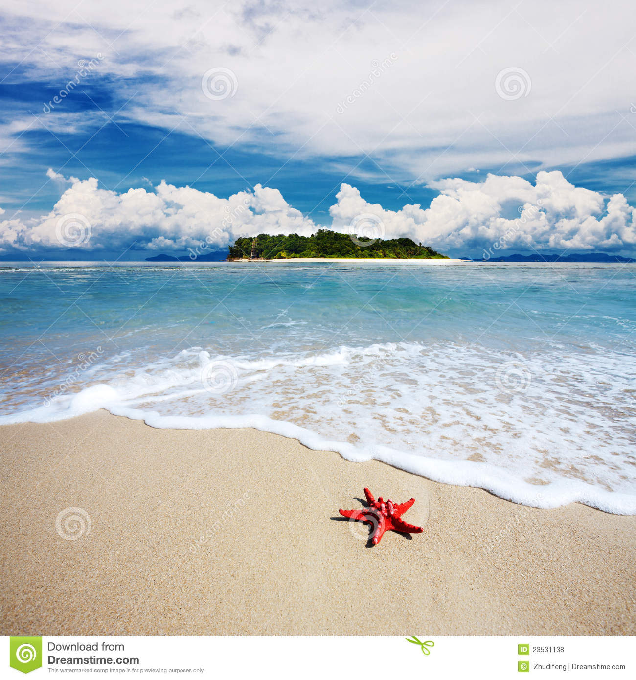 Beach Island: Tropical Island Beach With Perfect Sky Stock Photo