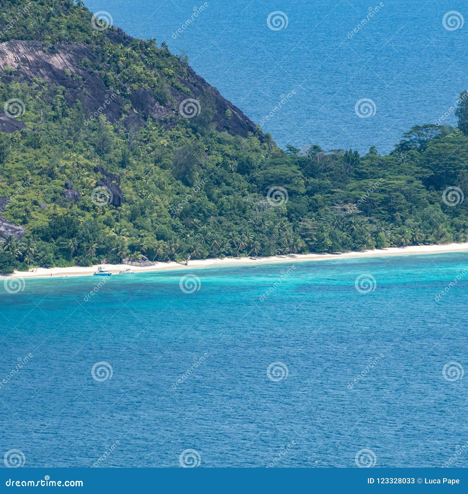 Seychelles Island Beaches: Tropical Island Beach In Seychelles With Boats Stock Image