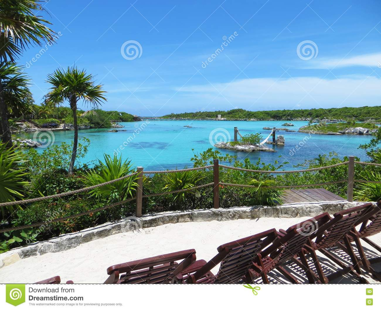 Tropical Island Beach and Turquoise Blue Sea