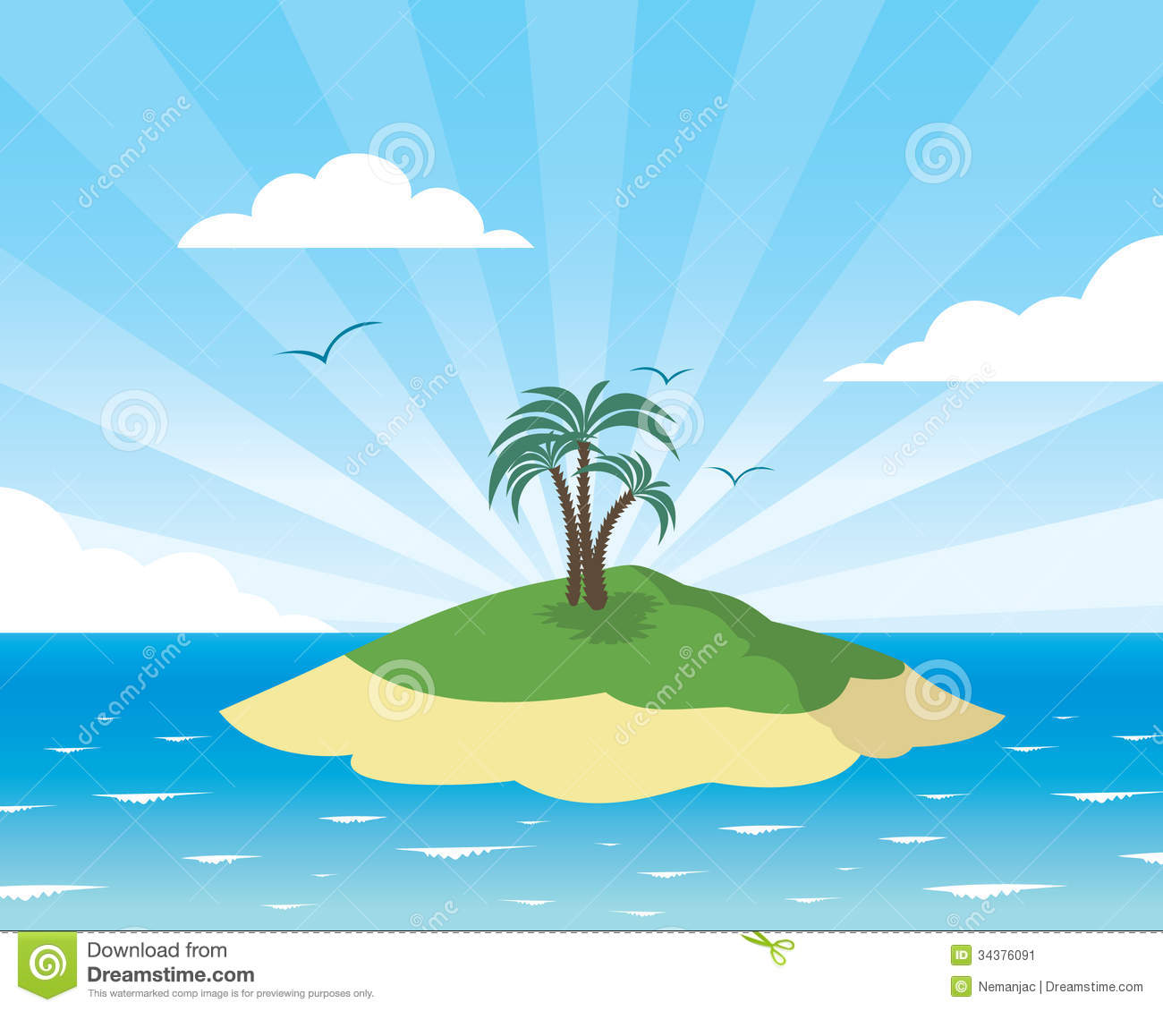 Tropical island card stock vector. Illustration of ...