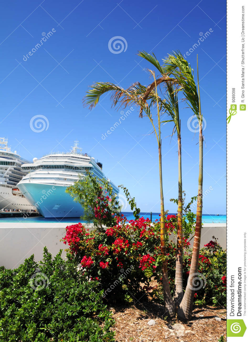 Tropical island with cruise ships royalty free stock photos image