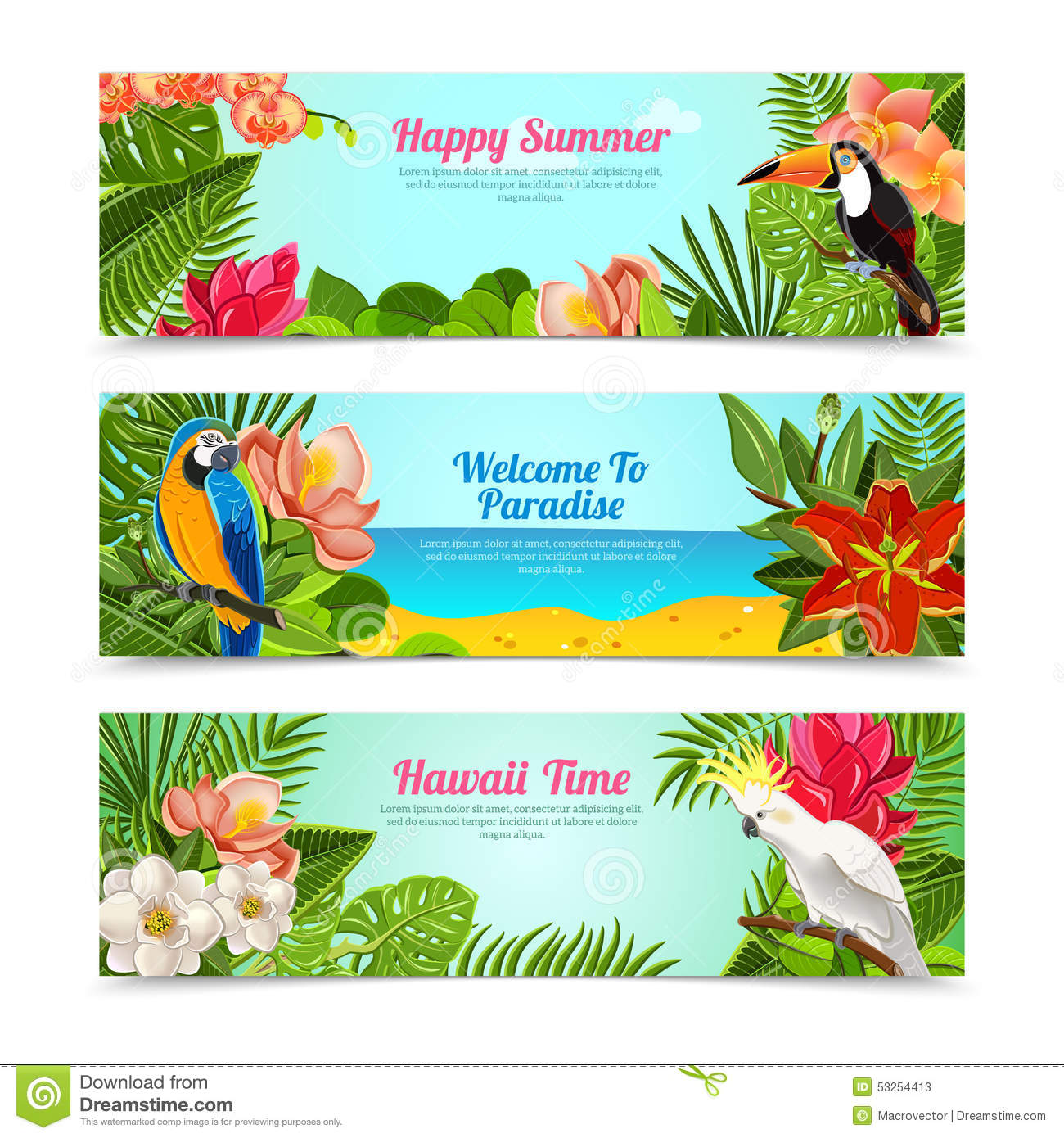 Happy time hawaii islands summer vacation horizontal posters set with ...