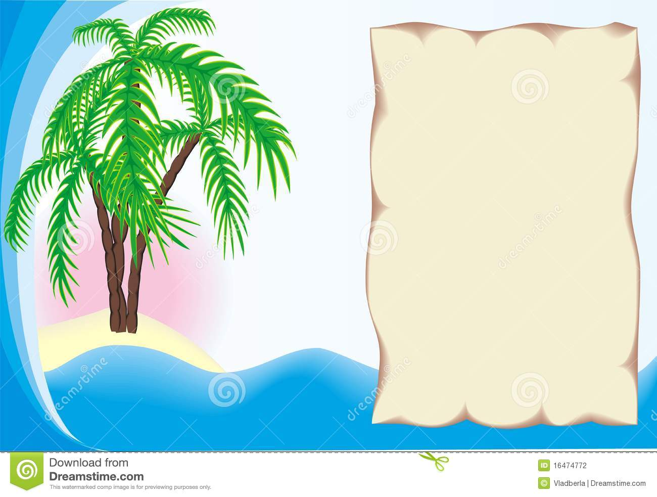 Tropical island with frame
