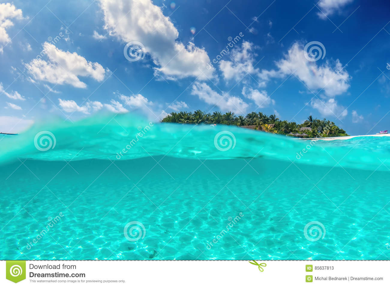 Tropical Island Beach Ambience Sound: Tropical Island On Indian Ocean, Maldives. Half Underwater