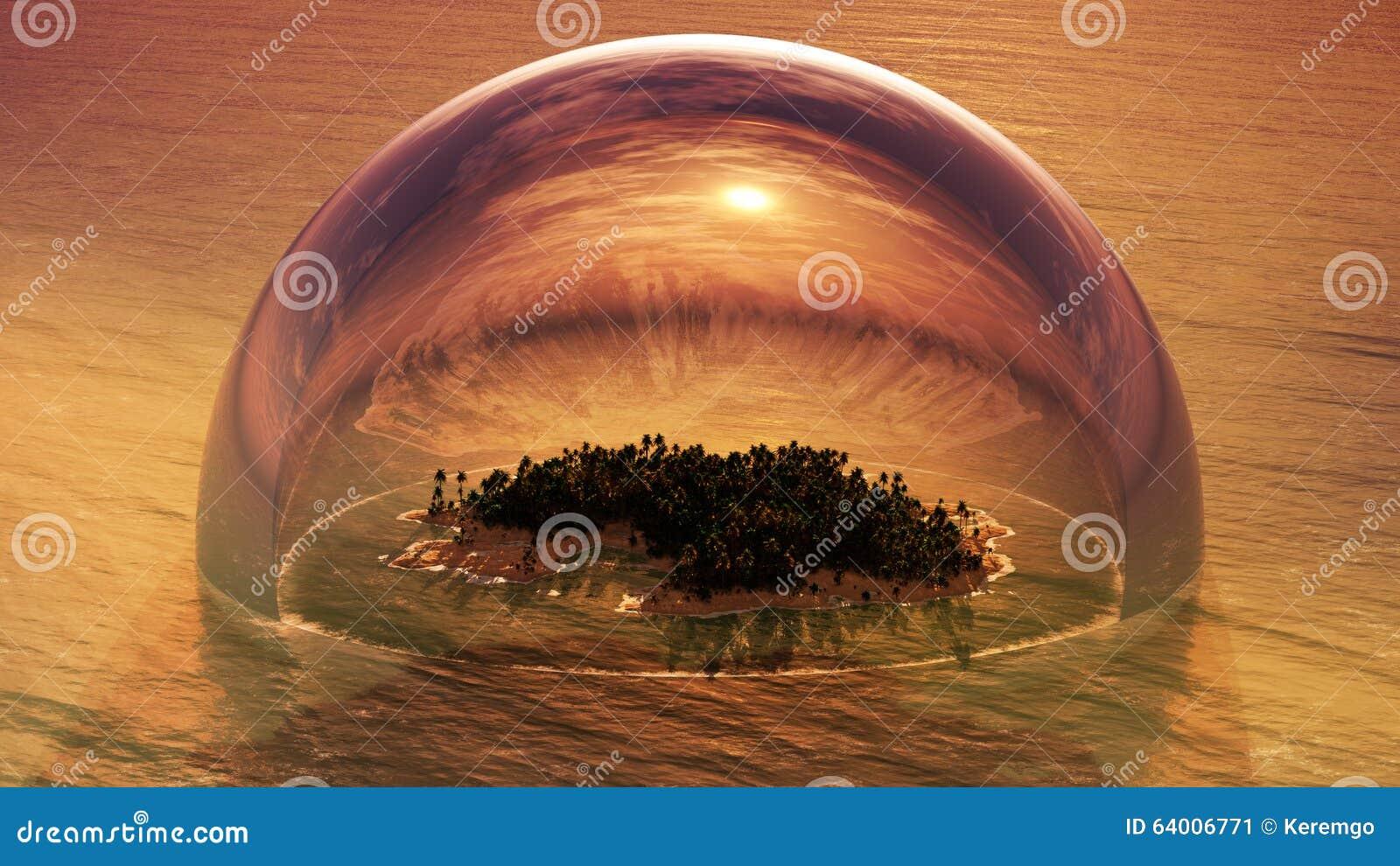 tropical island inside of half glass dome stock