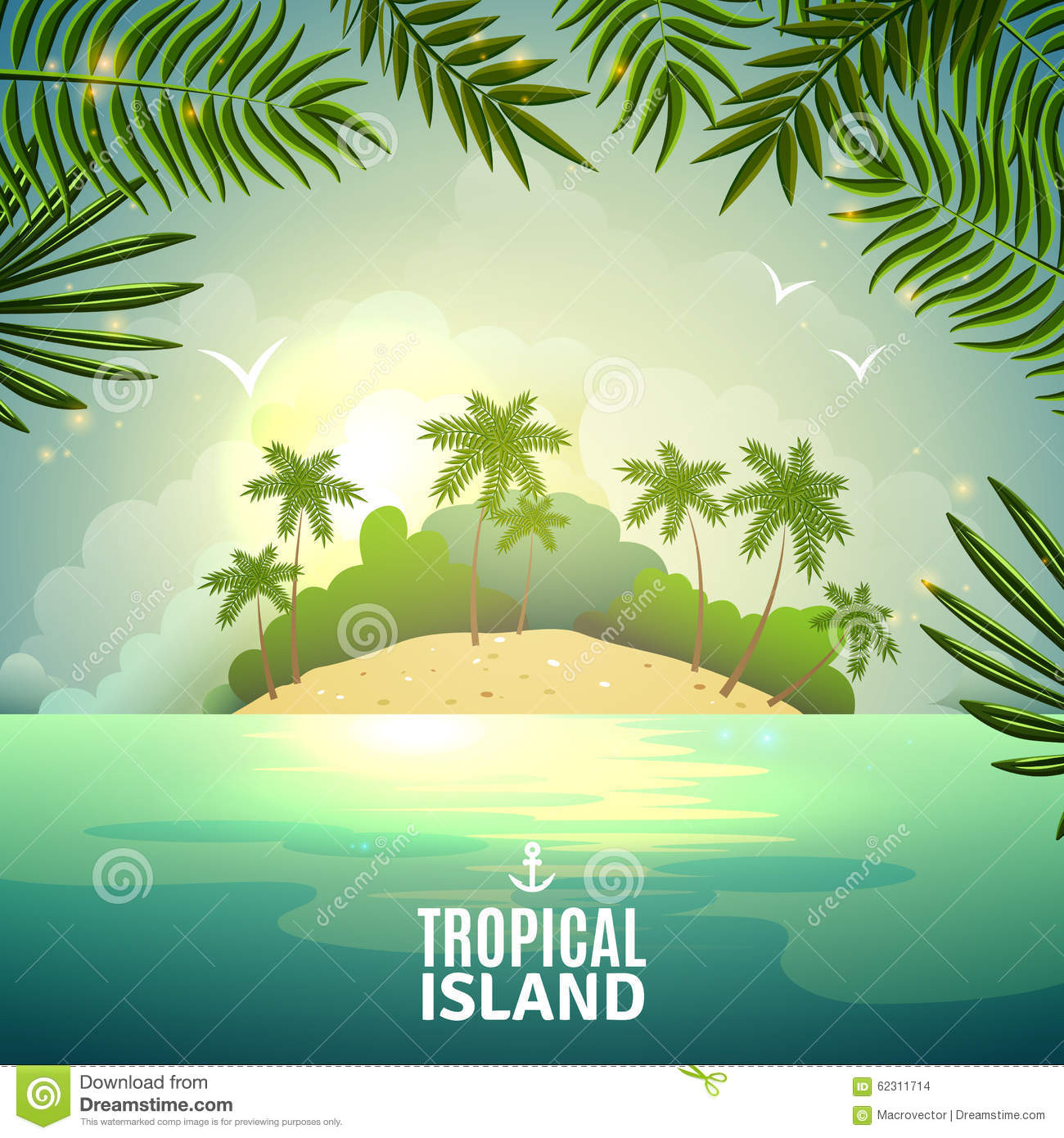 Tropical Island Nature Poster Stock Vector