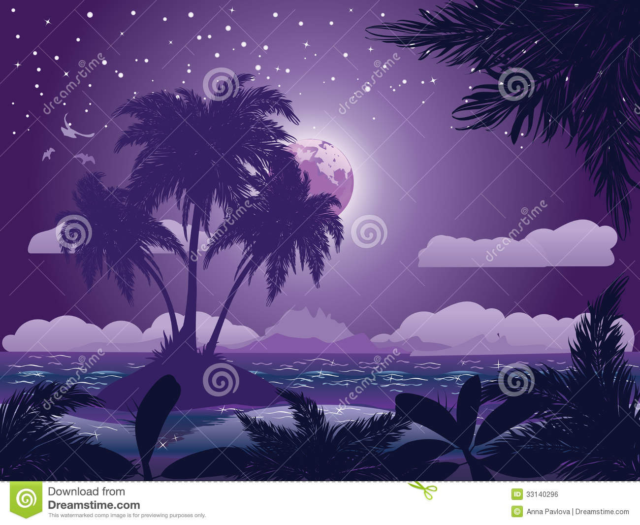 Tropical Island Beach Ambience Sound: Tropical Island At Night Stock Vector. Illustration Of