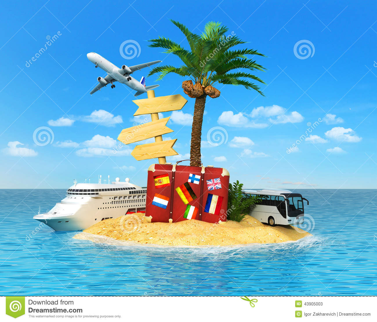 Palm Tree Island: Tropical Island With Palm Tree, Stock Image