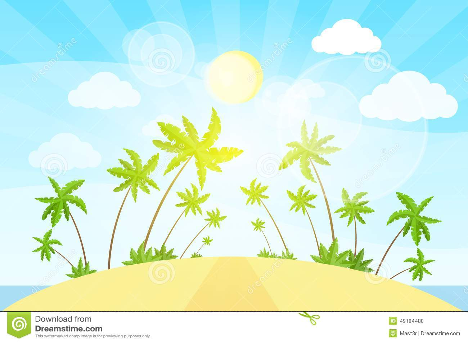 Tropical Island Cartoon: Tropical Island With Cartoon Palm Tree And Sun Royalty