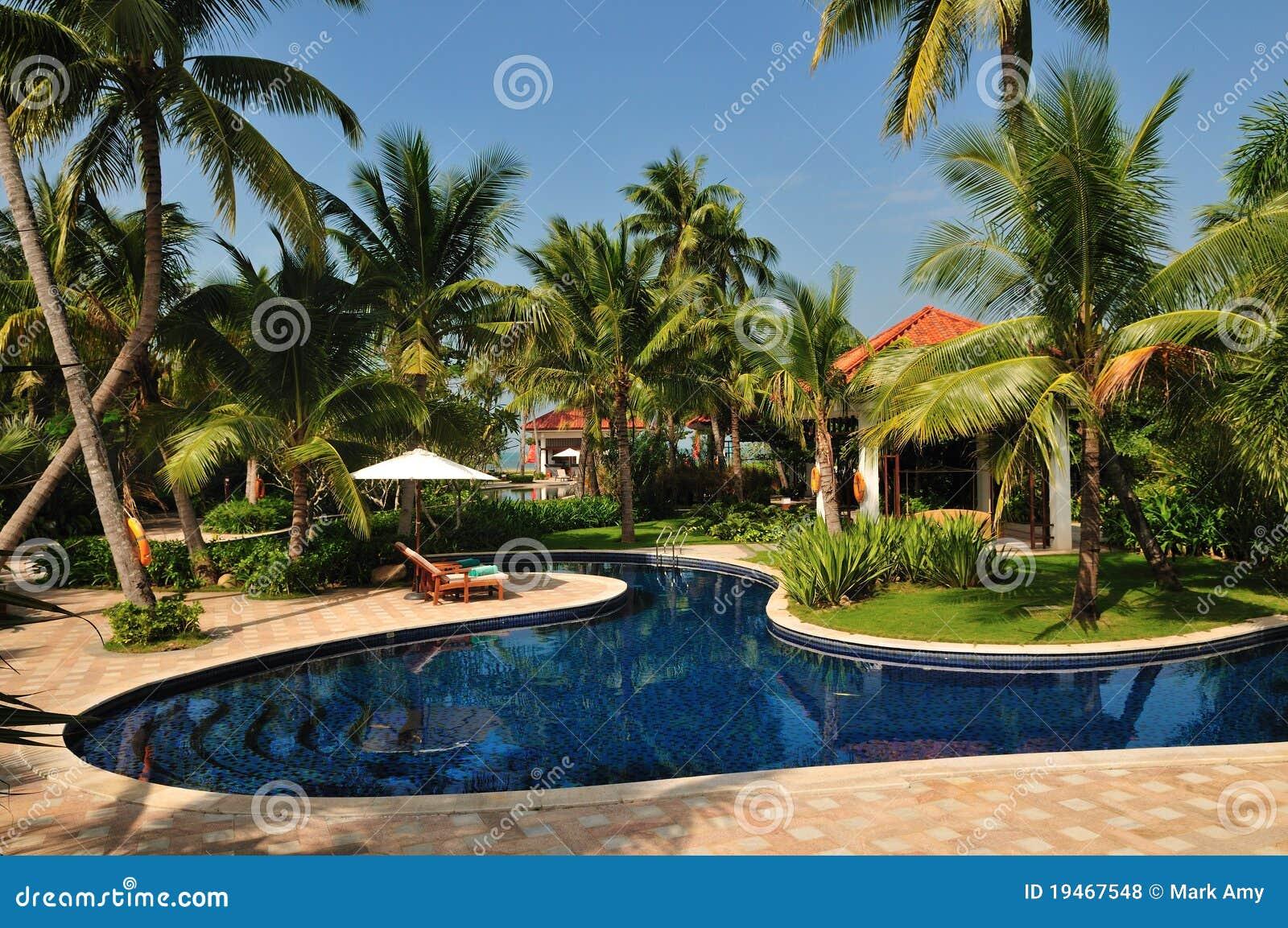 Tropical Island Paradise: Tropical Island Paradise Resort Stock Photo