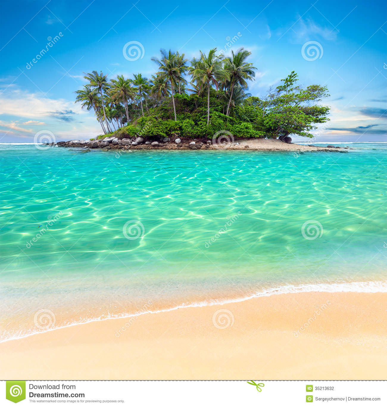 Beach Island: Tropical Island And Sand Beach Exotic Travel Background