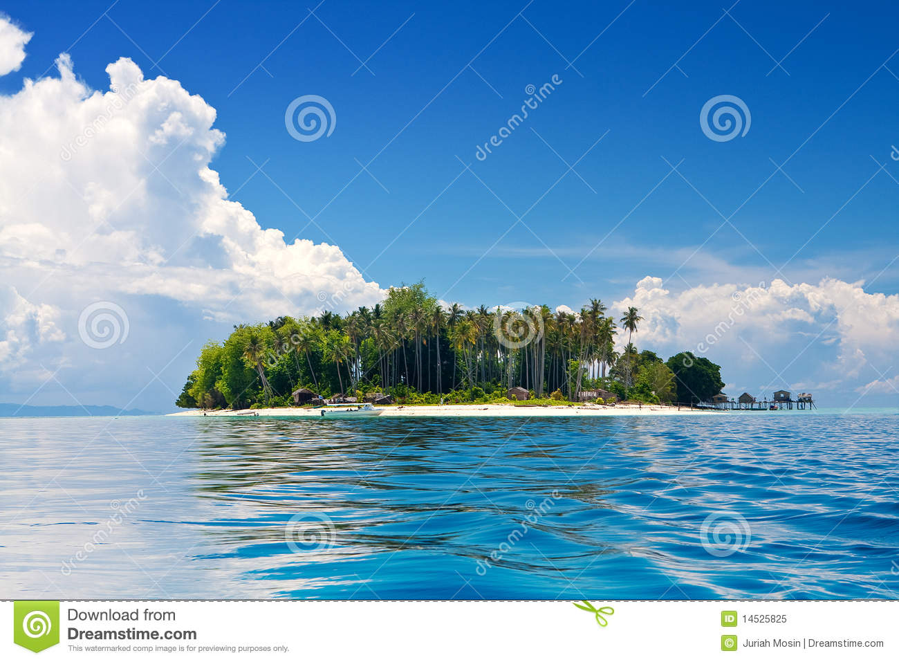Tropical Island Sun: Tropical Island In The Sun With Blue Skies Royalty Free