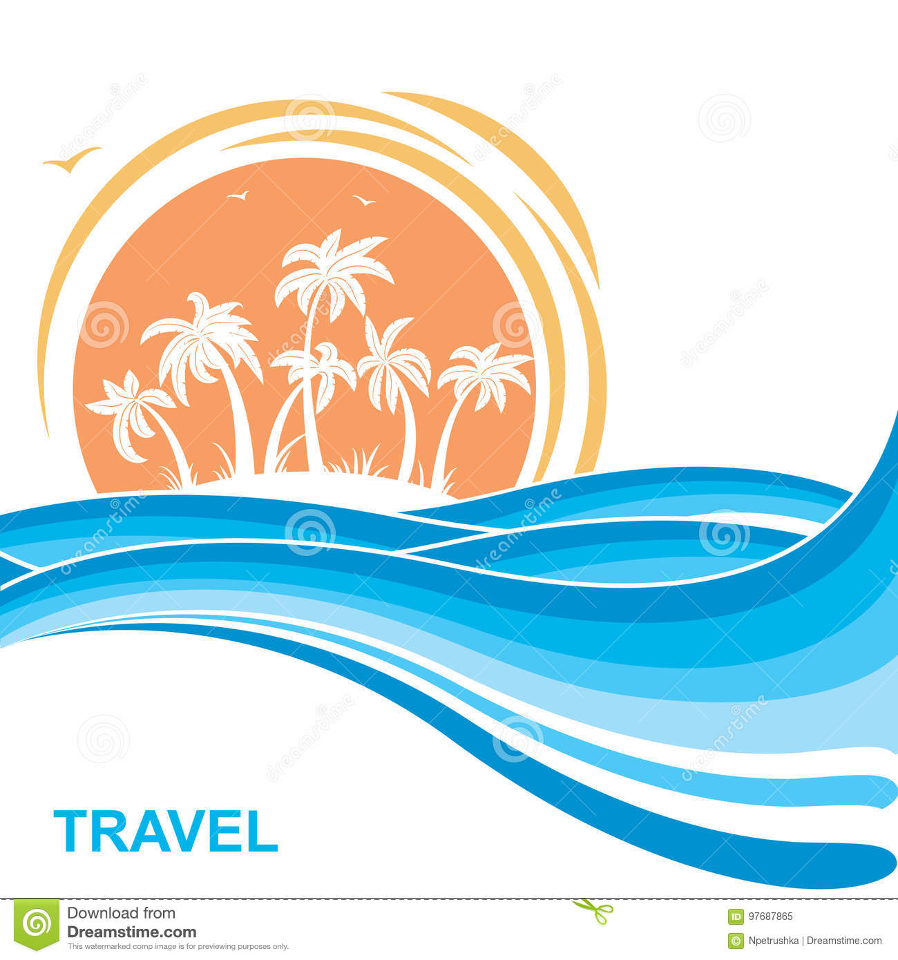 Tropical island and sun. Sea waves background illustration